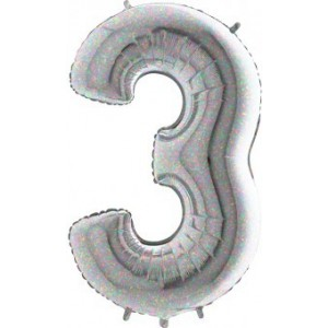 BALON FOLIE cifra 3, Holographic, 66 CM