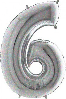 BALON FOLIE cifra 6, Holographic, 66 CM