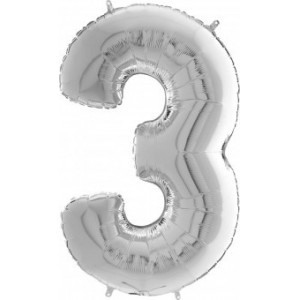 BALON FOLIE cifra 3, argintiu, 66 cm, ambalat