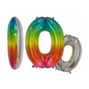 Balon folie cifra 0 rainbow/argintiu 76 cm