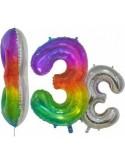 Balon folie cifra 3 rainbow/argintiu 76 cm