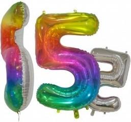 Balon folie cifra 5 rainbow/argintiu 76 cm