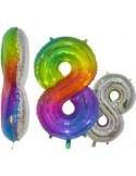 Balon folie cifra 1 rainbow/argintiu 76 cm