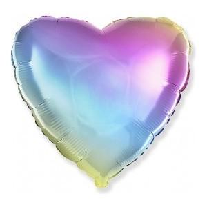Balon folie 45 cm inima rainbow