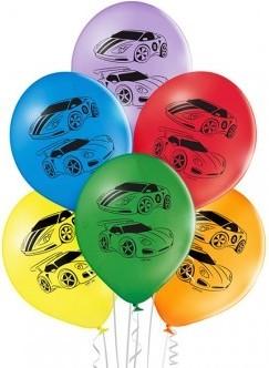 Set 6 baloane latex 30 cm masina