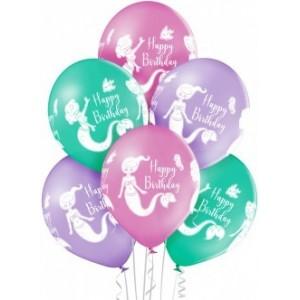 Set 6 baloane latex 30 cm happy birthday sirena