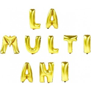 Set baloane folie, LA MULTI ANI, 40 cm, gold