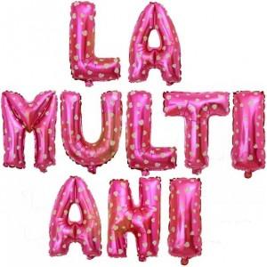 Set baloane folie, LA MULTI ANI, 40 cm, roz imprimat cu inimioare