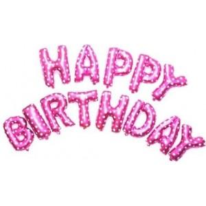 Set baloane folie, HAPPY BIRTHDAY, 40 cm, roz