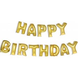 Set baloane folie, HAPPY BIRTHDAY, 40 cm, auriu