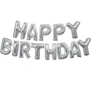 Set baloane folie, HAPPY BIRTHDAY, 40 cm, argintiu