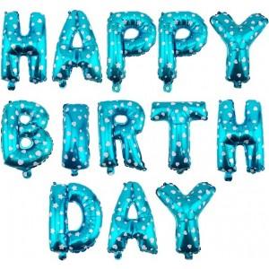 Set baloane folie, HAPPY BIRTHDAY, 40 cm, albastru imprimat inimioare