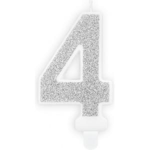 Lumanare tort cifra 4 argintie