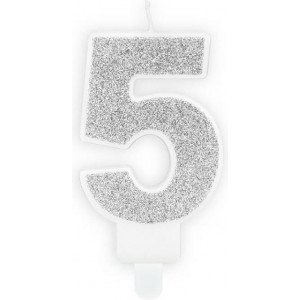 Lumanare tort cifra 5 argintie
