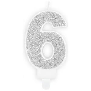 Lumanare tort cifra 6 argintie