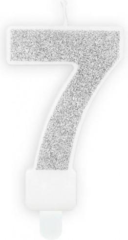 Lumanare tort cifra 7 argintie