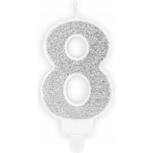 Lumanare tort cifra 8 argintie