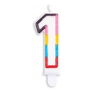 Lumanare multicolora cifra 1