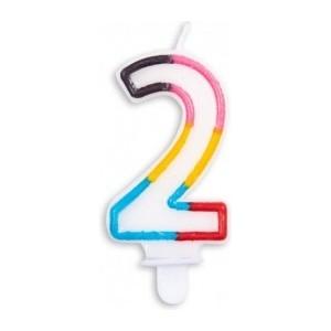 Lumanare multicolora cifra 2