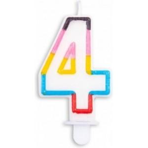 Lumanare multicolora cifra 4