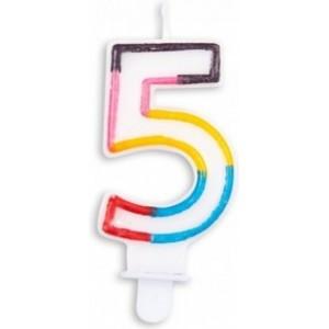 Lumanare multicolora cifra 5