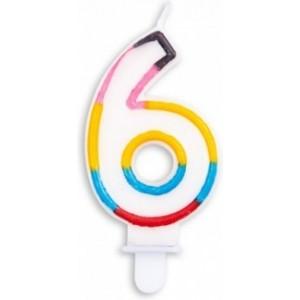Lumanare multicolora cifra 6