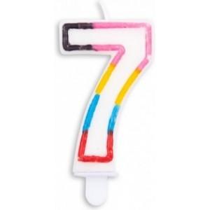 Lumanare multicolora cifra 7