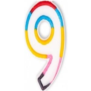 Lumanare multicolora cifra 9