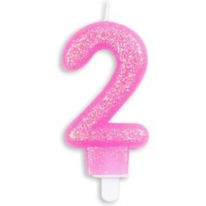 Lumanare tort glitter roz cifra 2