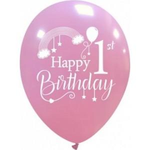 Balon latex 1 ST Happy Birtyday 30 cm roz