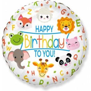 Balon folie 45 cm Happy Birthday Zoo