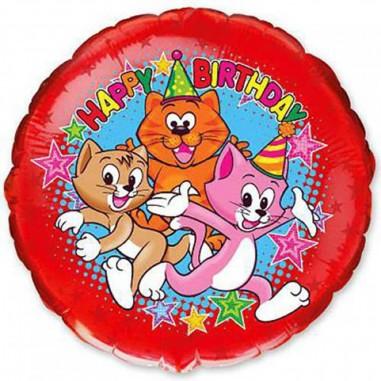 Balon folie 45 cm Happy Birthday Pisicute