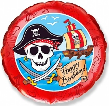 Balon folie 45 cm Happy Birthday Pirate