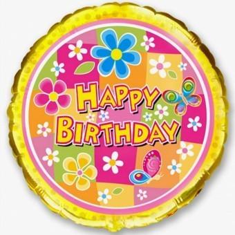 Balon fole 45 cm Happy Birthday flori