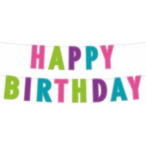 Banner Happy Birthday,multicolor 12.5x200 cm