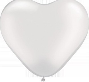 Baloane latex inima albe 30 cm